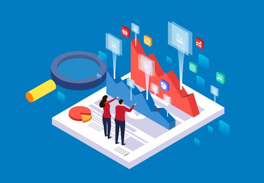 Isometric concept of business team analyzing data charts and graphs